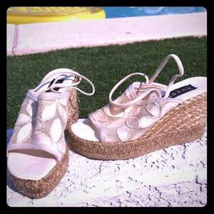 Cream platform wedges size 5